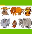 set cartoon animal characters vector image vector image