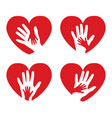 set icons with hands and hearts vector image