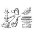 set vintage smoking tobacco elements vector image