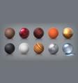 texture spheres 3d realistic balls glass metal vector image vector image