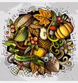thanksgiving hand drawn cartoon doodles vector image vector image