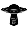 ufo icon flying spaceship in black color world