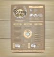 vintage bakery menu design on cardboard vector image vector image