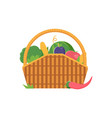 wicker picnic vegetable basket vector image vector image