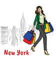woman in new york vector image vector image