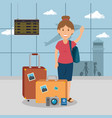 woman traveler in the airport vector image