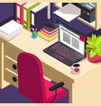 workplace office work objects on table isometric vector image
