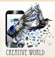 abstract screen phone with ink spots and bird vector image