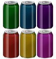 Aluminum cans in six different colors vector image vector image