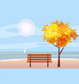 autumn landscape on the sea ocean tree wooden vector image