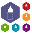baby milk bottle icons set hexagon vector image