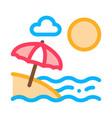 beach with umbrellas icon outline vector image vector image