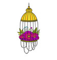 bird cage with bloom poppies vector image vector image