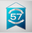 blue pennant with inscription fifty seven years vector image vector image