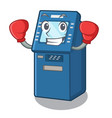 boxing atm machine isolated with mascot vector image