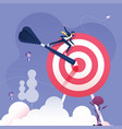 businessman rides on darts to target vector image vector image