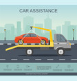 car evacuator drive with red car on the road vector image