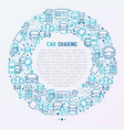car sharing concept in circle with thin line icons vector image