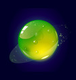cartoon green jelly planet in outer space vector image