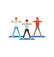 cartoon men doing sport exercise three young guys vector image vector image