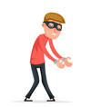 caught handcuffs burglar robber thief scared guy vector image vector image