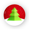 christmas tree sticker red snow vector image