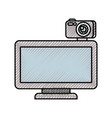computer monitor with camera web gadget vector image vector image