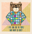 cool bear hipster hand draw vector image