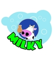 Cute cartoon cow badge vector image vector image
