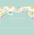 daisy chamomile floral wedding invite blue yellow vector image vector image