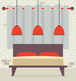 Double Bed With Red Ceiling Lamps In Front Of vector image vector image