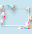 easter holiday background with 3d painted eggs vector image vector image