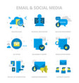 email social media flat icons vector image vector image