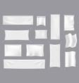 fabric realistic flag mockups white textile vector image