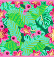 floral pattern with chameleon vector image vector image