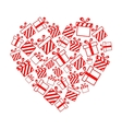 gift boxes in heart shape vector image vector image