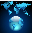 Globe on dark blue World map vector image vector image
