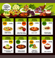 greek cuisine menu with prices and lunch dishes vector image vector image