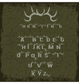 grunge hunting alphabet with horns vector image vector image