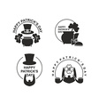 Happy St Patricks day set of emblems Pot with vector image