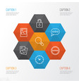 internet icons set collection of refuse research vector image vector image