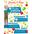 jeweler man and gemstone jewels vector image vector image