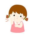 little girl having toothache cartoon vector image vector image