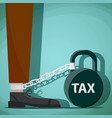 man chained to kettlebell with word tax vector image