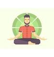 man meditates in lotus position vector image