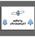 Merry christmas greeting card with cute doodle vector image vector image