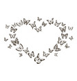 monochrome heart butterflies flying insects vector image vector image