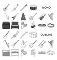 musical instrument monochrom icons in set vector image