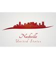 Nashville skyline in red vector image