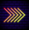 neon glowing arrow pointer on dark brick wall vector image
